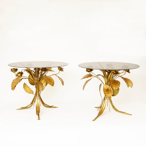 Pair of 1970's Hans Kohgl side tables with glass tops.