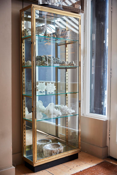 French brass display cabinet with mirrored back circa 1900