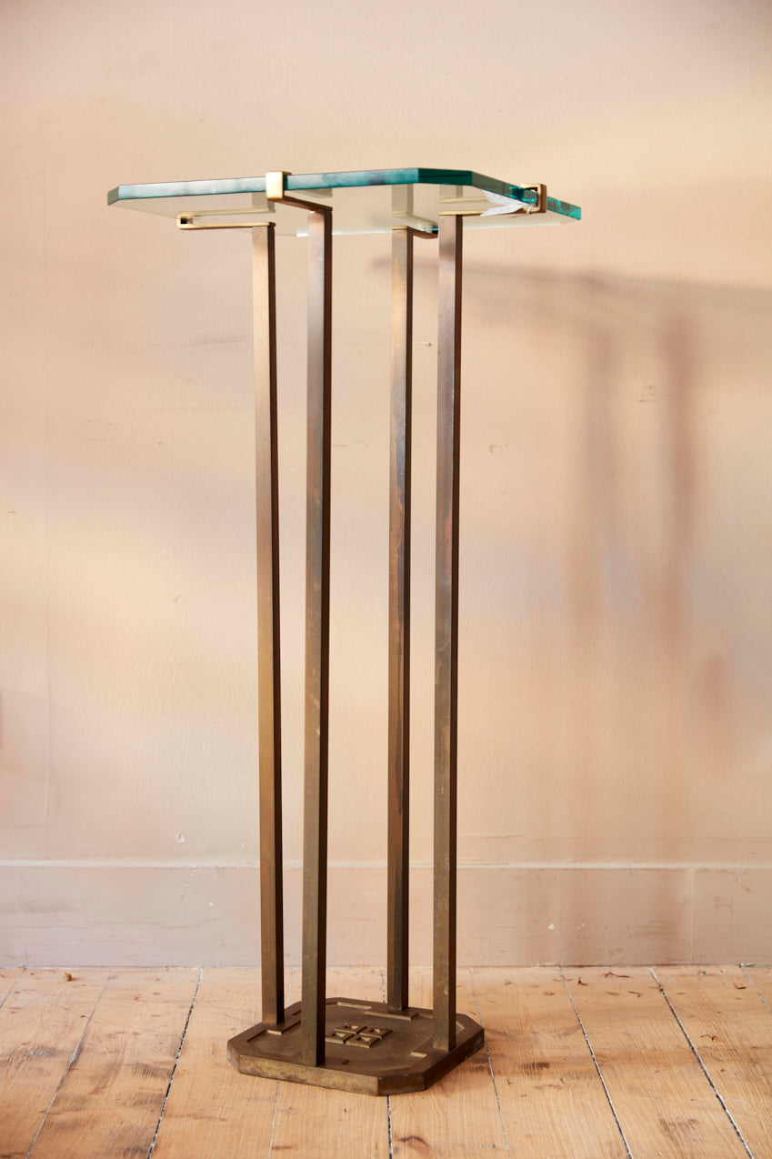 Peter Ghyczy  bronze and glass stand circa 1970 .