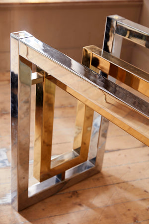 1970's chrome and gold centre table attributed to Romeo Rega .