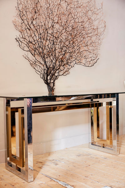 Chrome and gold console table circa 1970 attributed to Romeo Rega .