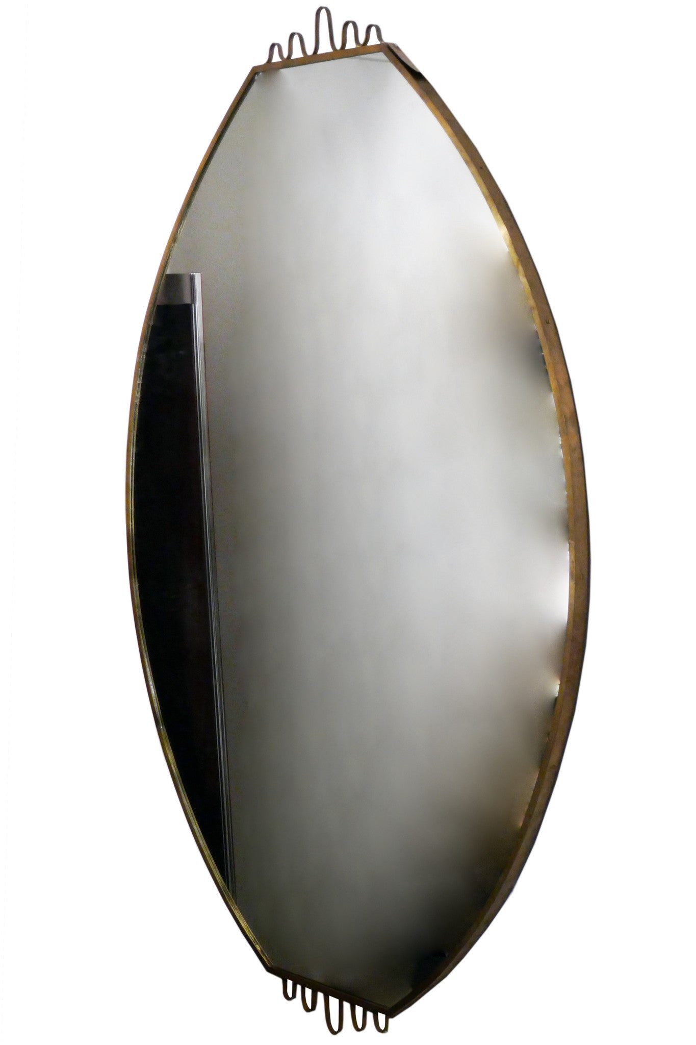 Large Brass 1950 Italian wall Mirror