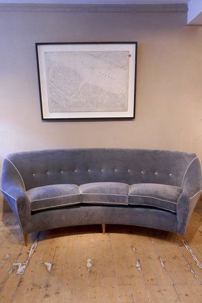 Curved 1950s italian sofa recovered in Linwood velvet