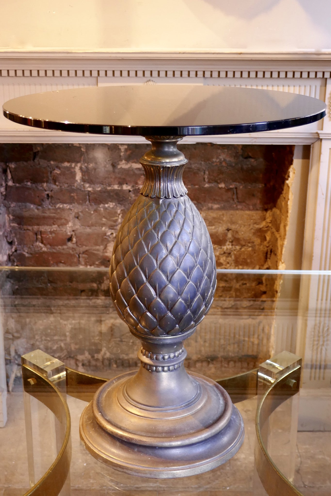 X 1970s Pineapple Base brass side Table .
