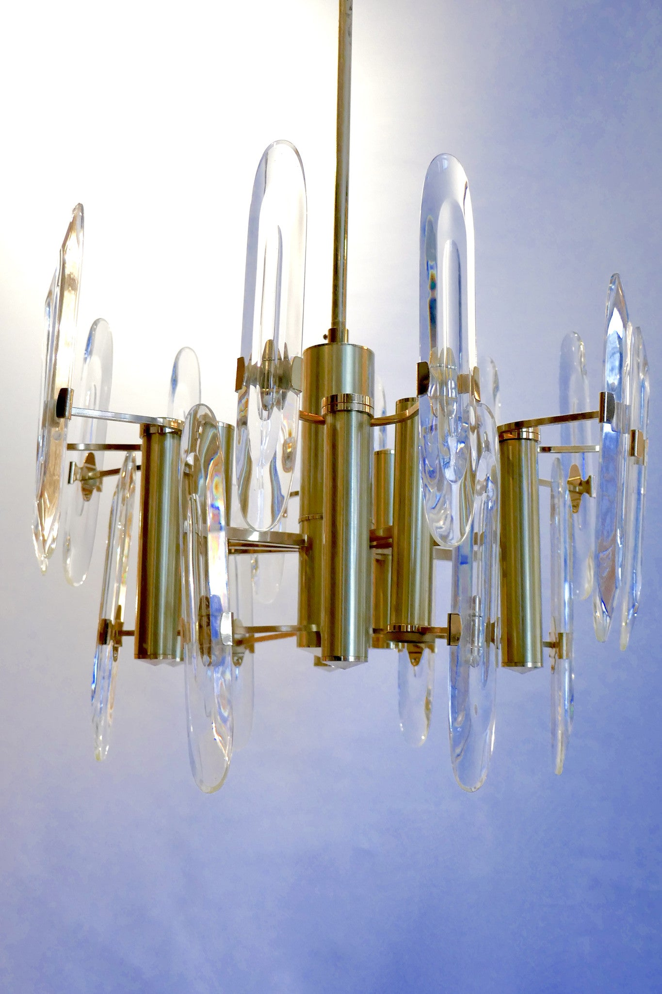 X 1970's Nine-Light gold-plated Chandelier by Gaetano Sciolari