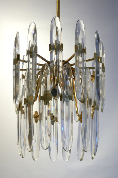 1970's Three-Light gold-plated Chandelier by Gaetano Sciolari