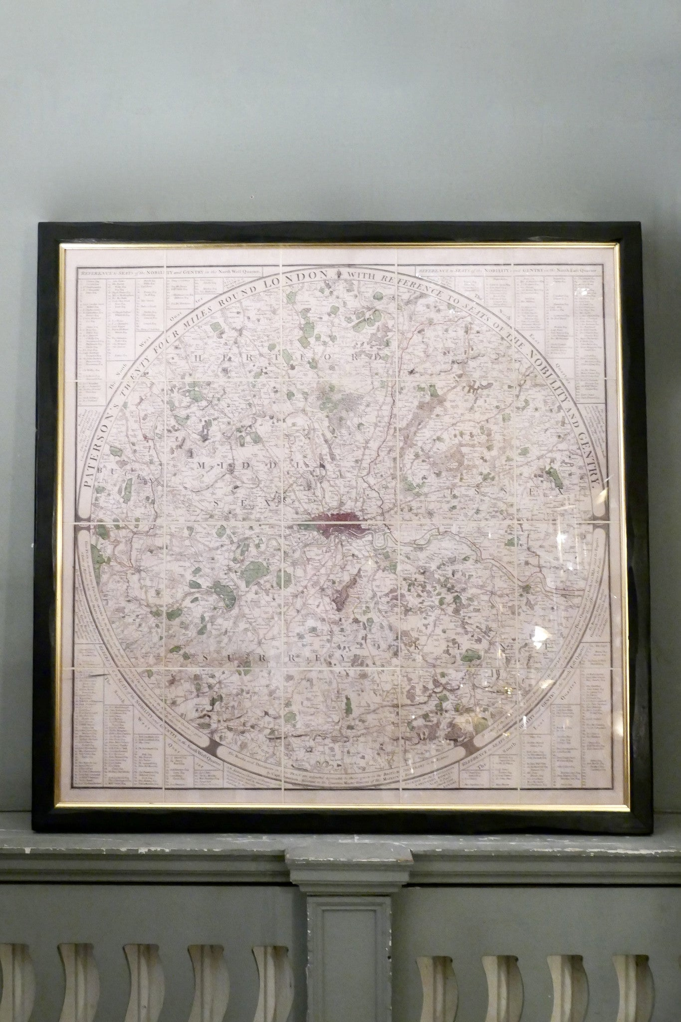 X A framed linen backed , hand finished facsimile of Paterson's map of london.