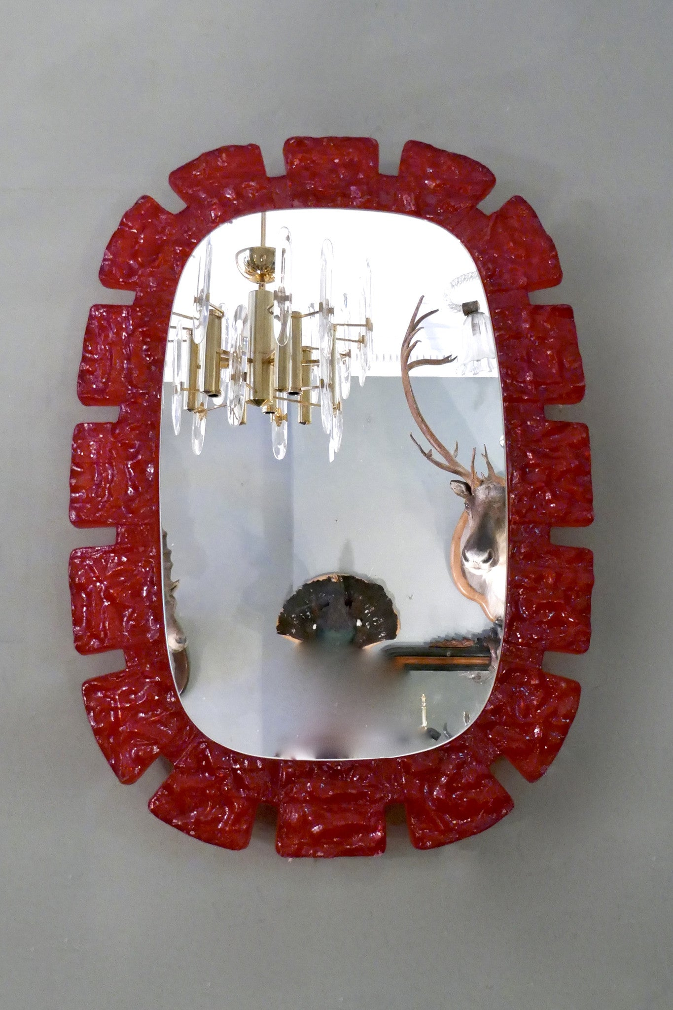 X Red perspex framed 1970s back lit wall mirror .