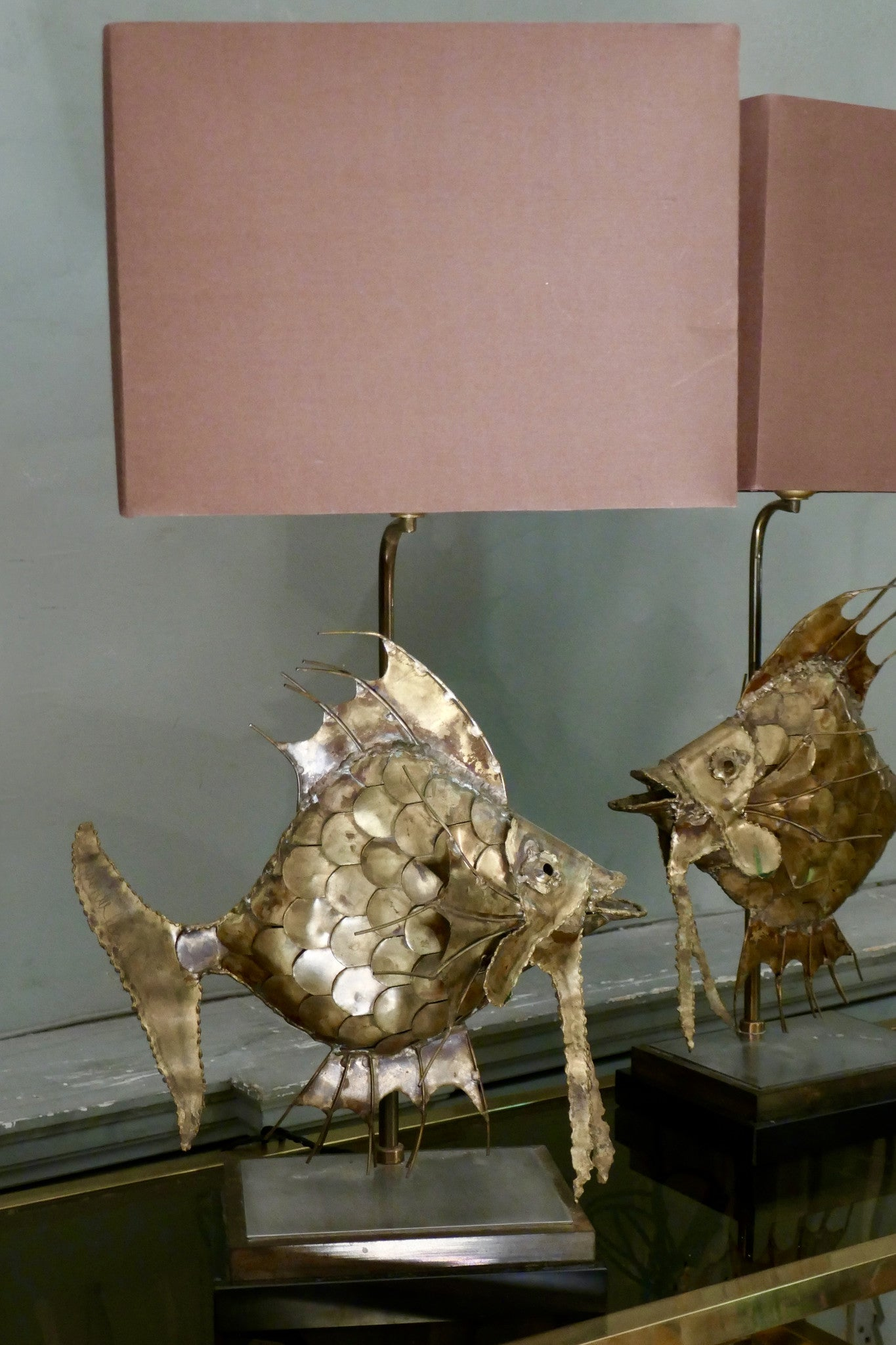 X Pair of Brass Fish Table Lamps