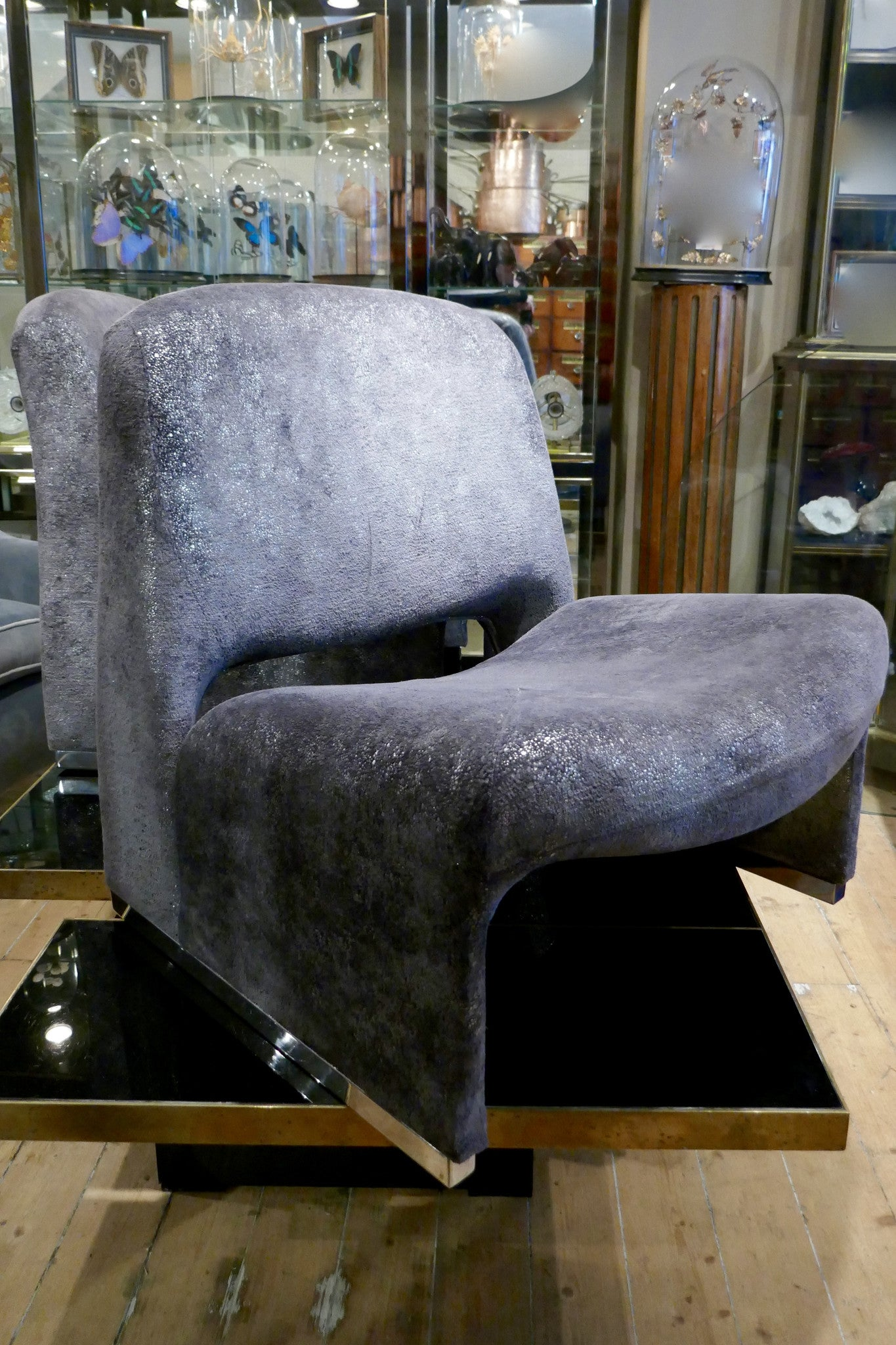 X Pair of French 1970s futuristic chairs re-upholstered in Romo metallic fabric.