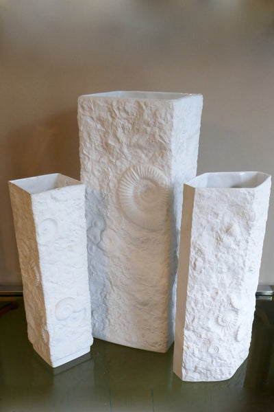 X Set 3 of fossil ceramic vases  by kaiser