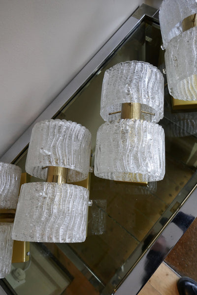 X Set of Four Glass and Brass Wall Lights