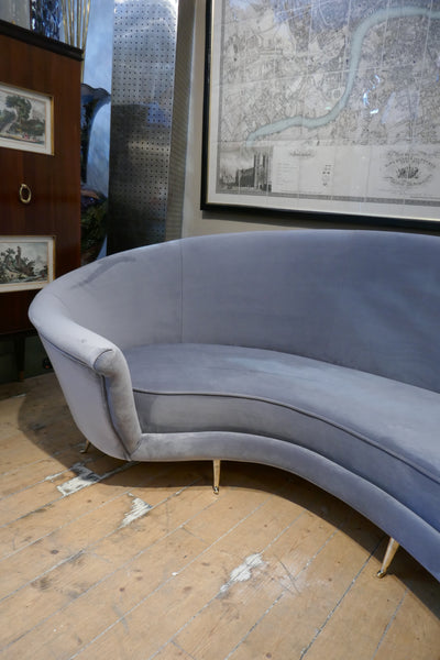 Curved Italian sofa 1960's style sofa upholstered in grey velvet .
