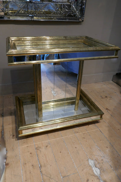 1970's brass and mirrored bar trolley in the style of Rodolfo Dubarry.