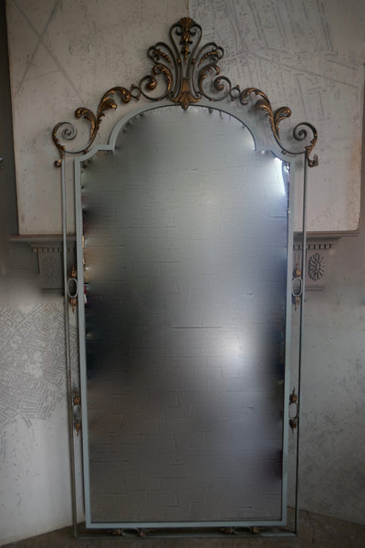 1920's French Iron Mirror with Decorative Gold Gilt Details
