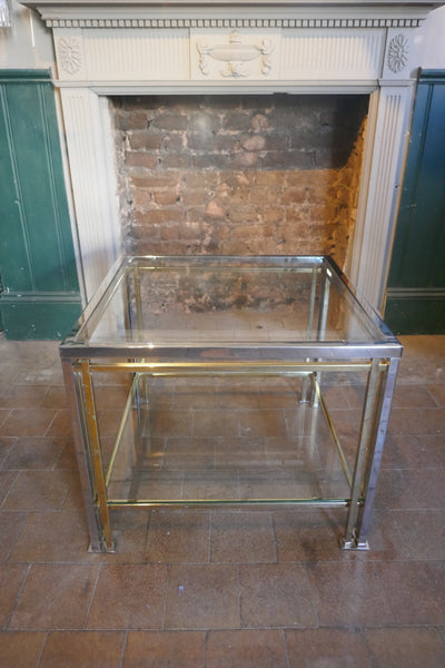 1970š chrome and gold 2 tier modernist side table in the Maison Jansen style.