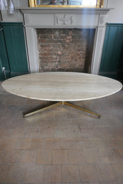 Large Italian 1970's coffee table with elliptical travertine marble top
