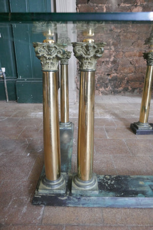 Highly decorative Italian bronze coffee table with Neoclassical column details circa 1970.
