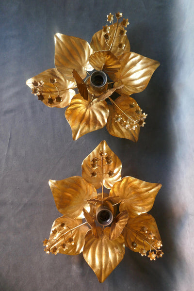 Pair of unusual gold wall light in the form of flowers . Italian circa 1960 .