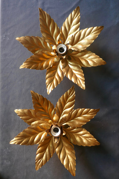 Pair of decorative Italian gold floral wall or ceiling lights circa 1960.