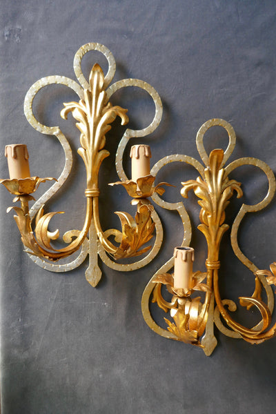 Pair of gilded two tone Italian wall lights circa 1960 .