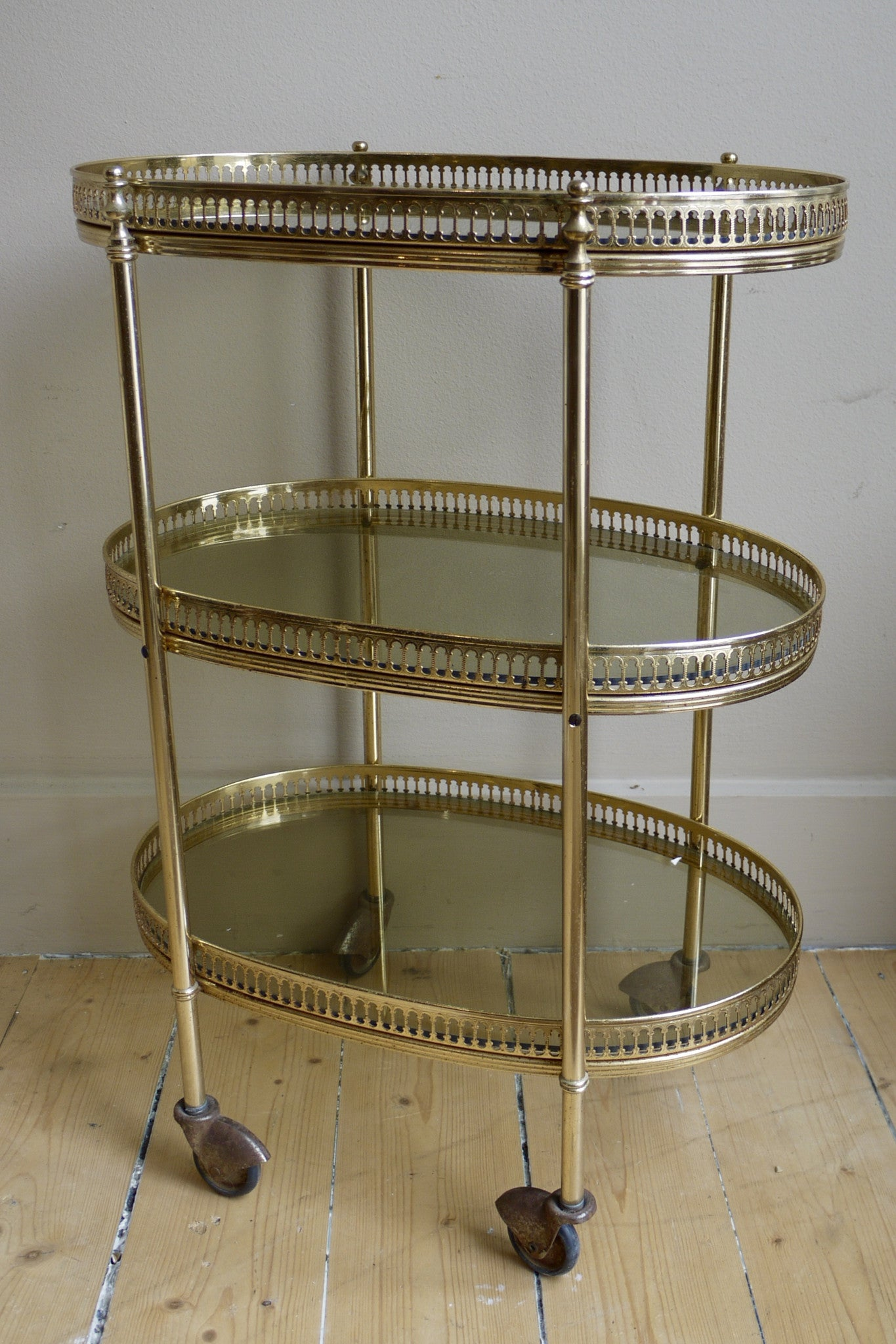 X Three Tier Brass Bar Trolly