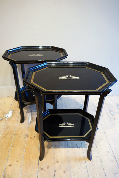 X Pair of decorative Black Italian black laquer side tables circa 1970. With lift off trays.