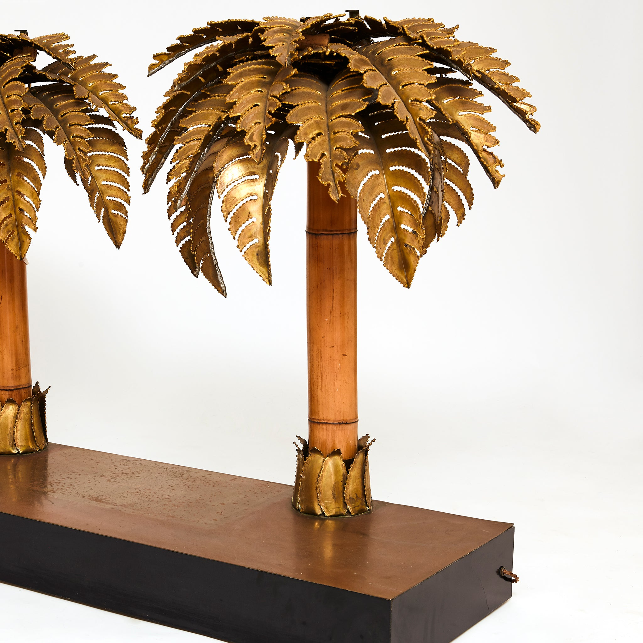 Maison Jansen illuminated console with Palm tree supports .
