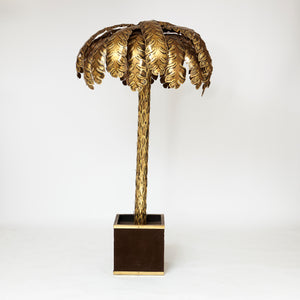 1970's  french brass palm tree lamp. Attributed to Maison Jansen.