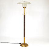 Elegant 1950's Italian floor lamp with Murano glass shade and bowl .