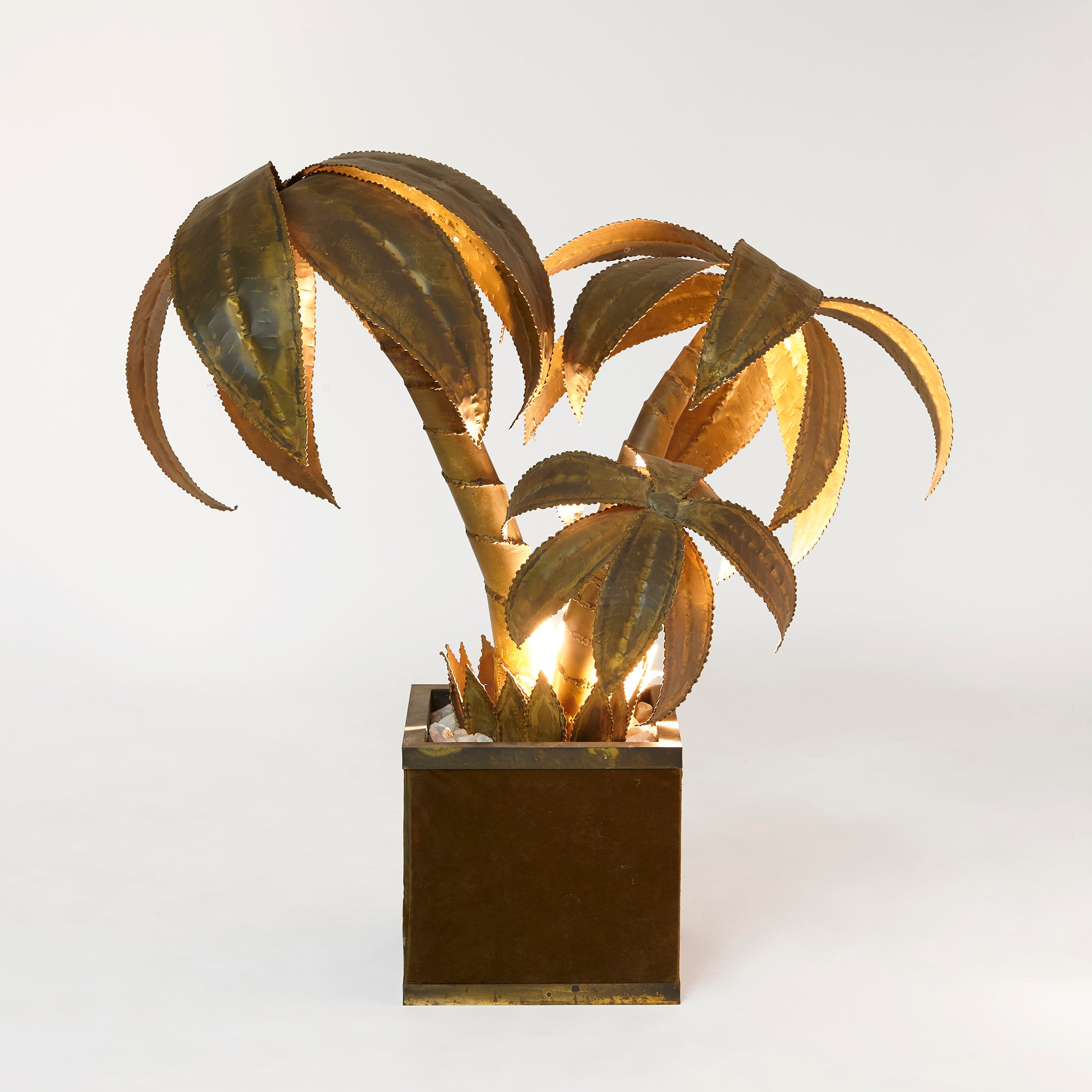 Brass Maison Jansen palm tree floor lamp on suede base.