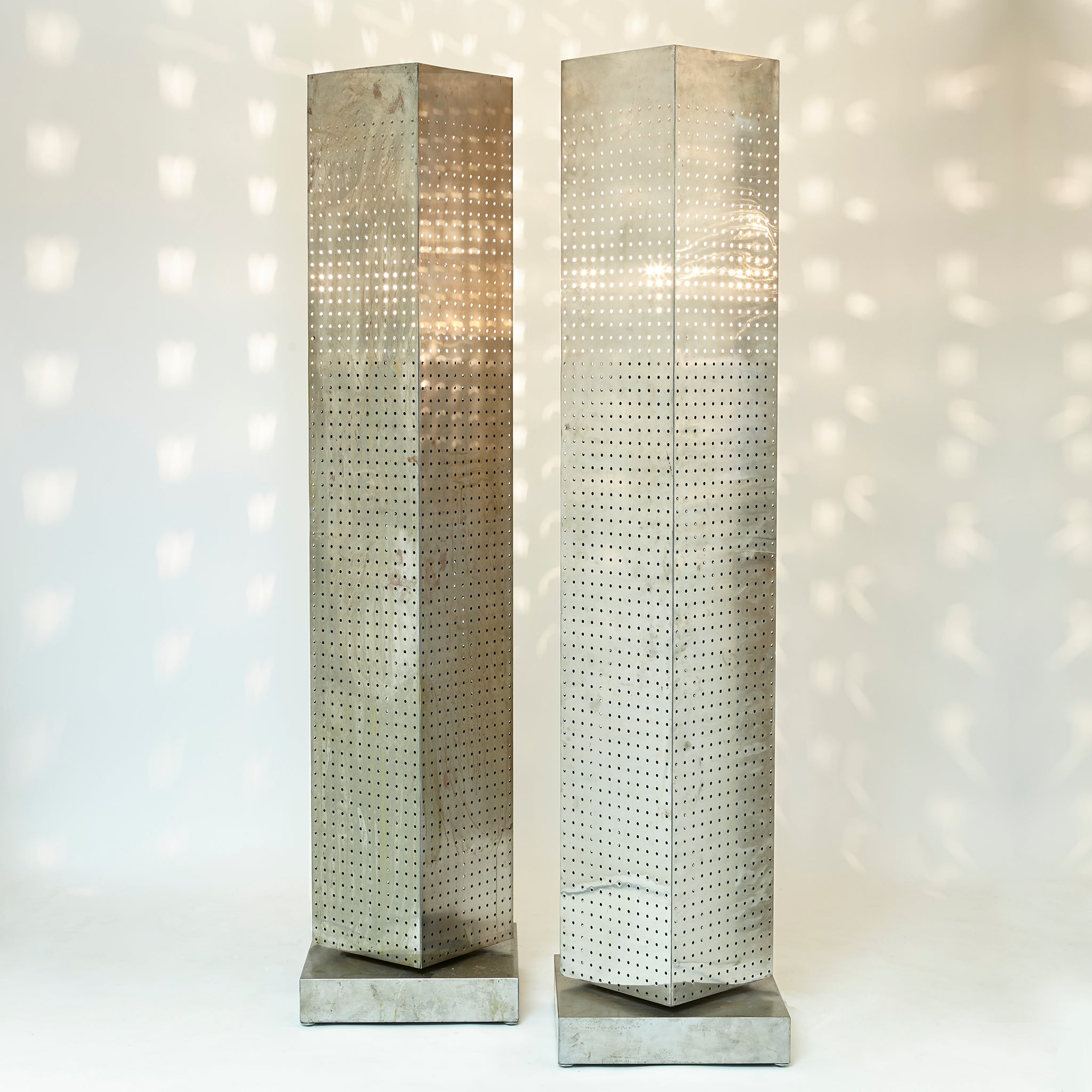 Impressive pair of huge 190 cm brutalist revolving floor lamps .