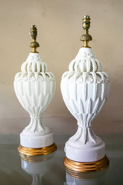 Large stunning pair of vintage Casa Pupo Lamps .