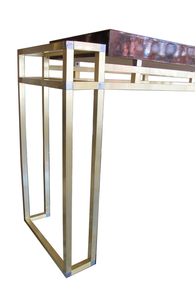 1970's Double-Framed Bronze and Burl Walnut Console by Mario Sabot