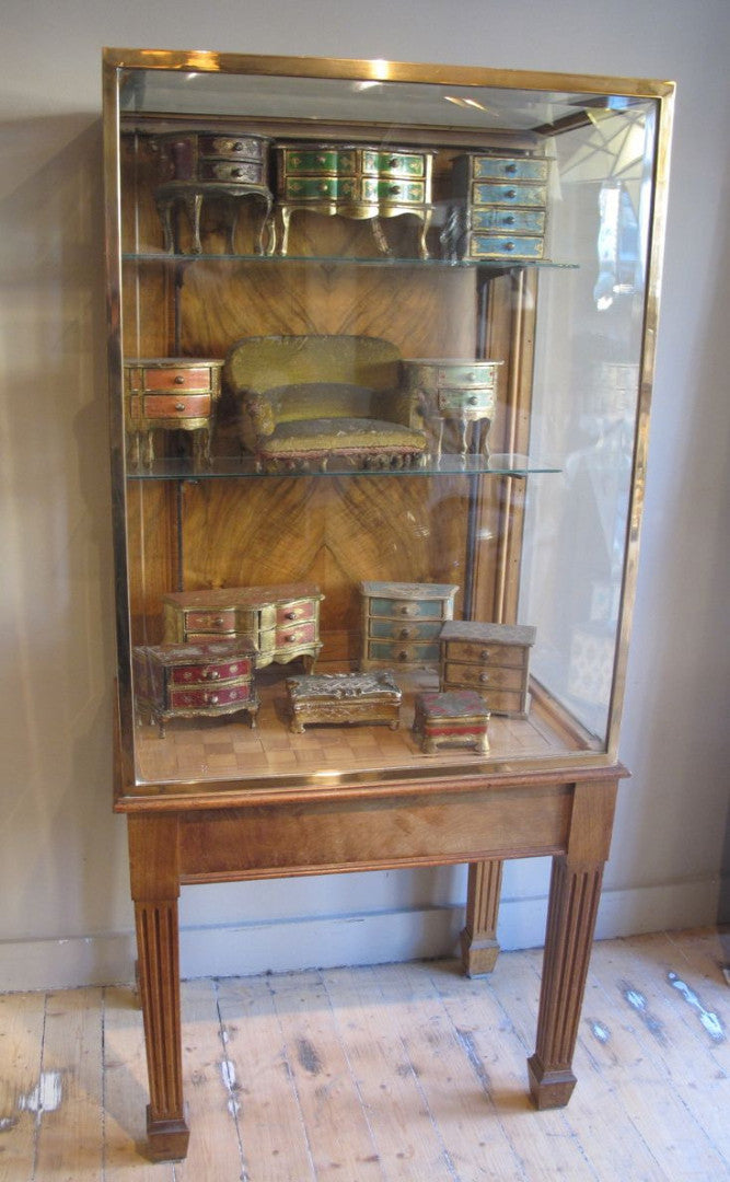 X Art Deco Bronze and Walnut English Display Cabinet