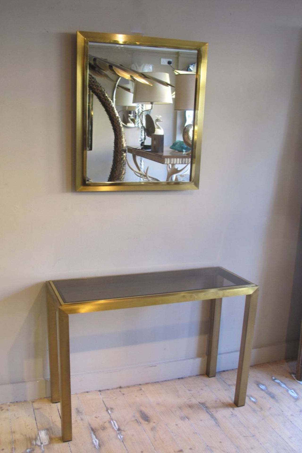 X Fine quality Brass & Smoked Glass Console