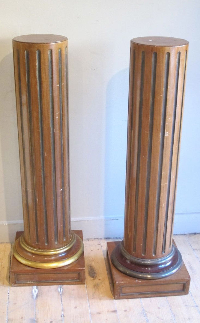 Pair of 19th century french mahogany and brass plinths