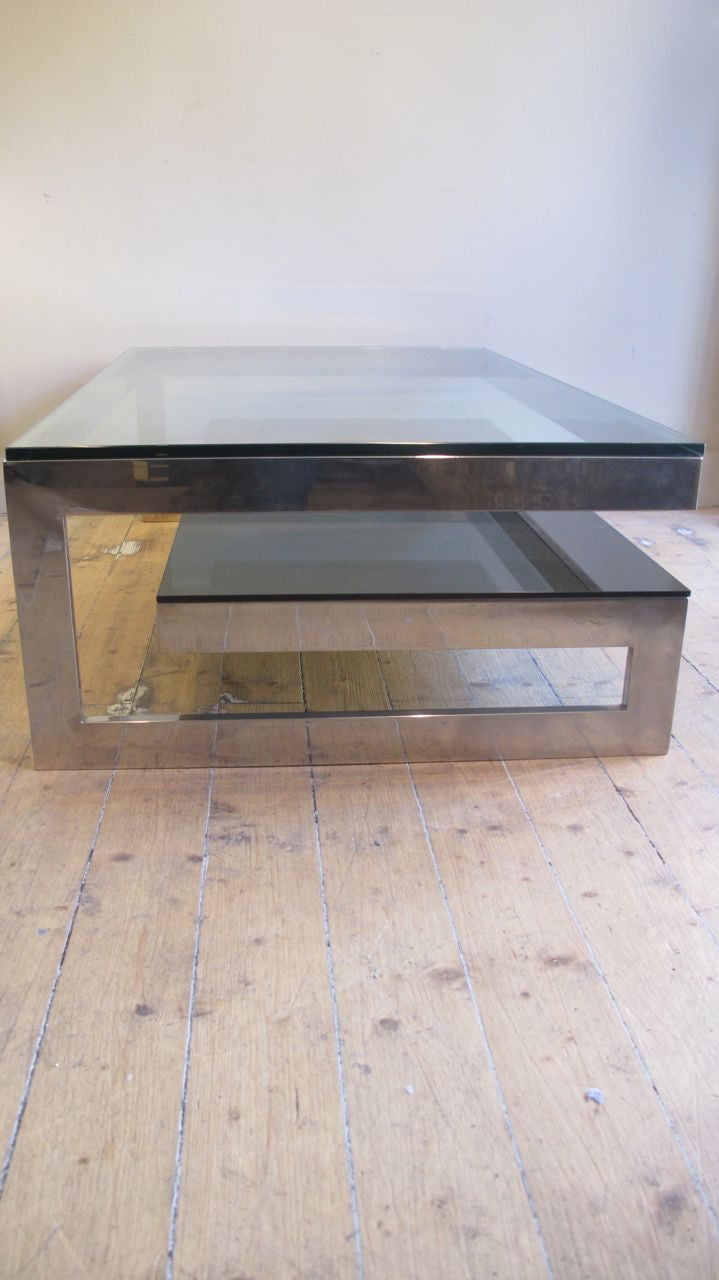 X Gold plated & Glass 1970 s 'G' Coffee Table