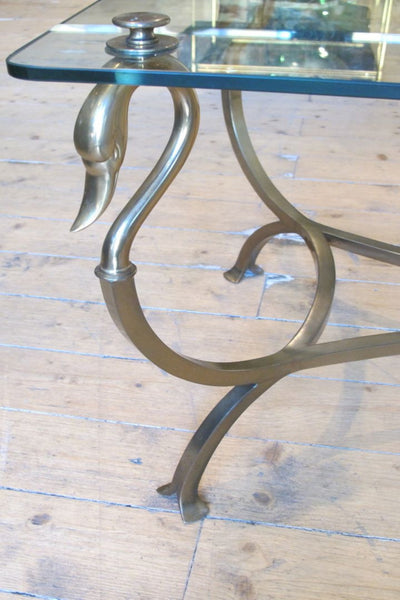 Forged bronze and glass side table with swan neck detail circa 1970.