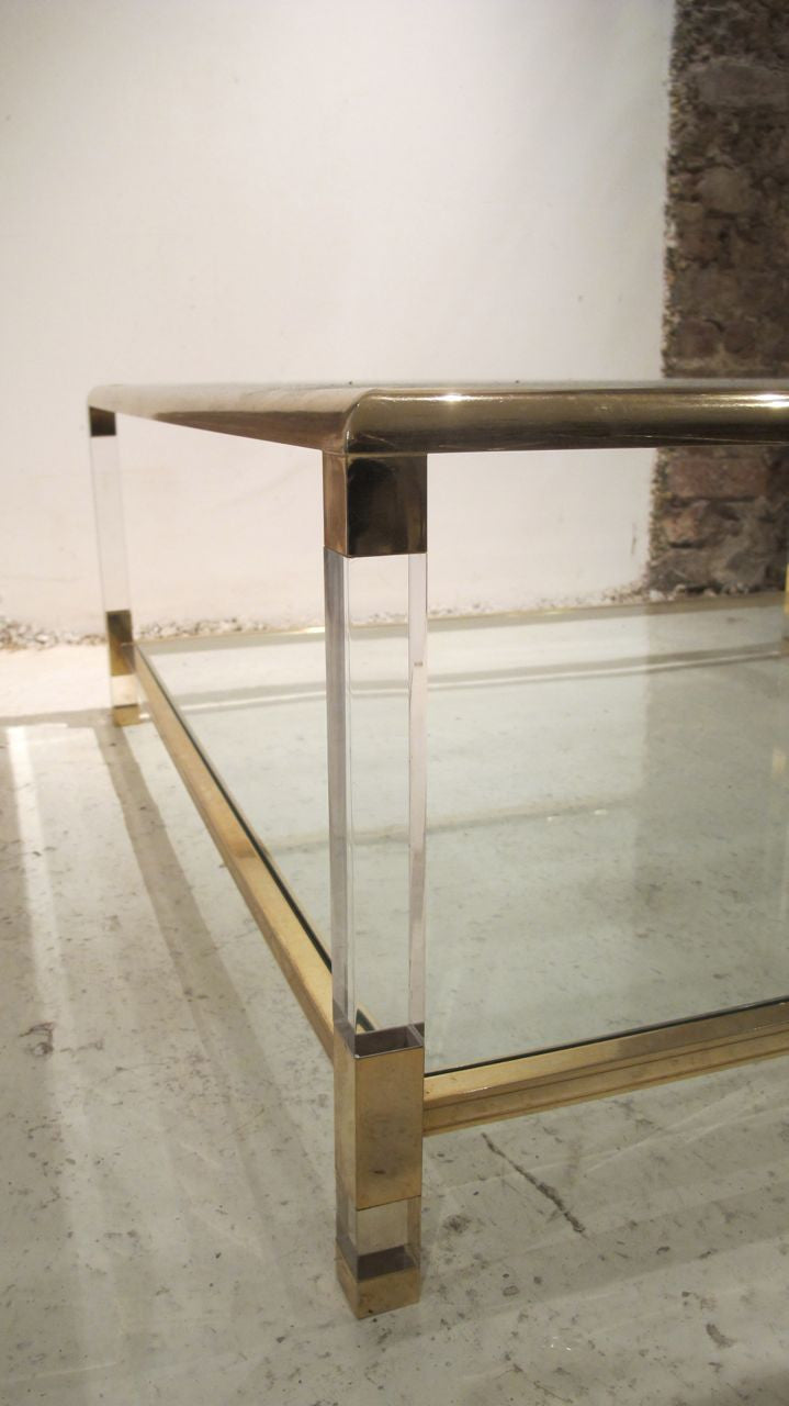 X Large mid century Lucite and Brass Two Tier Coffee Table