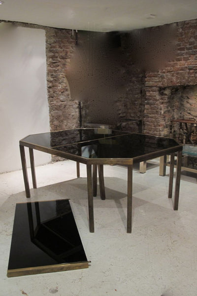X Maison Jansen Bronze and Black Glass extendable Dining Table