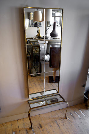 X Superb quality brass french hall mirror and table