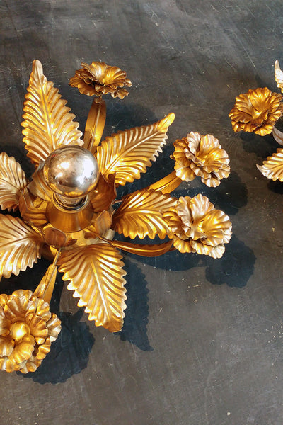 X Pair of Floral Brass Lights