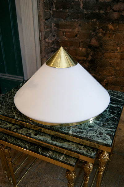 White Glass and Brass Conical Wall Lights circa 1970 .