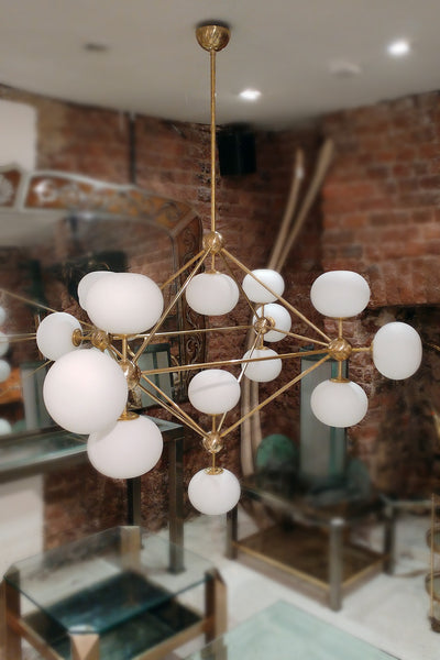Brass Chandelier with Glass Globes