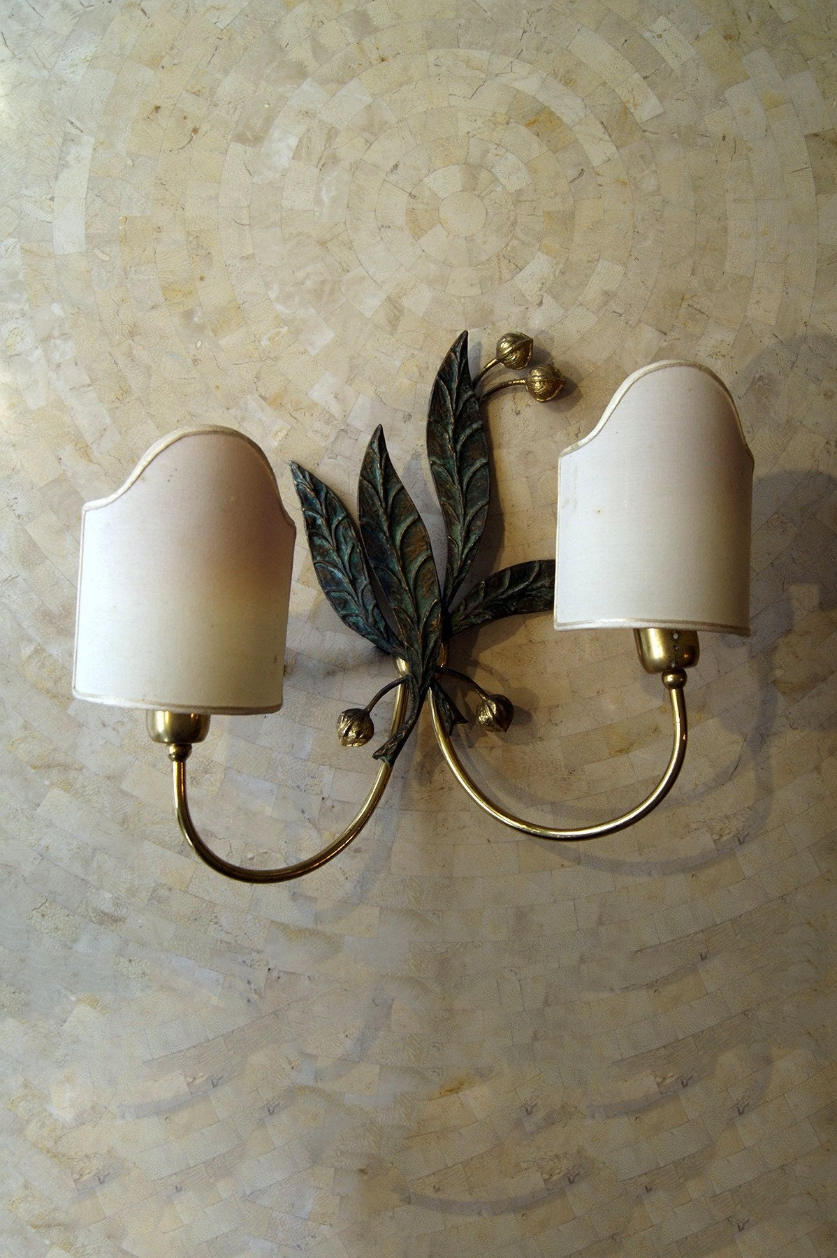 A Large Pair of Brass and Bronze Italian Wall Lights