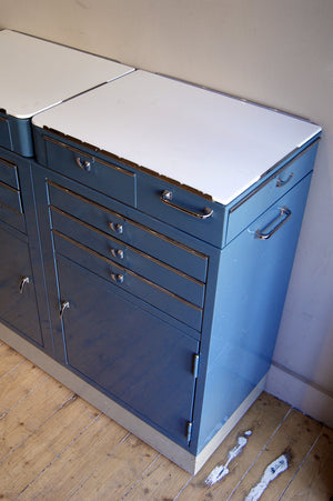 X 1960's metal dental cabinet with drawers and cupboard