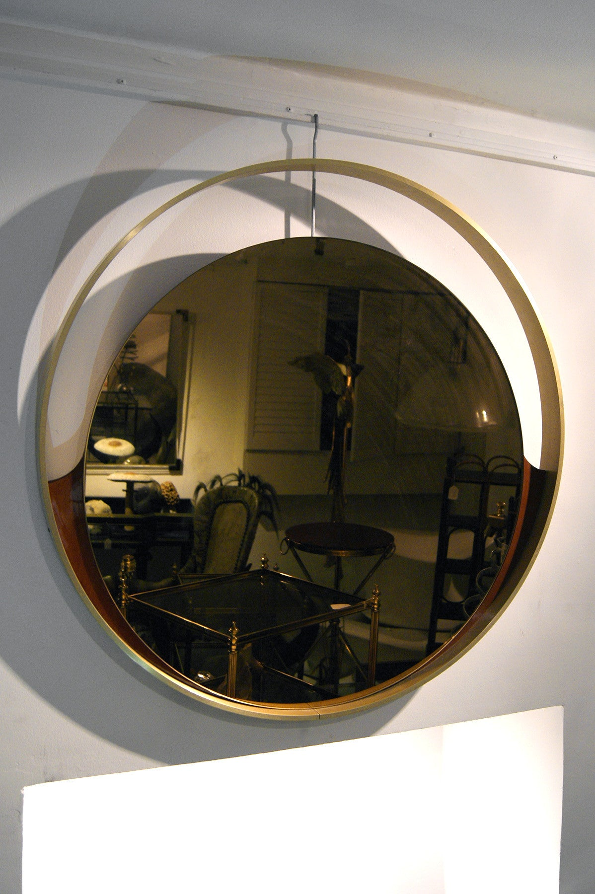 Large 1970s italian wall mirror with substantial solid brass frame.