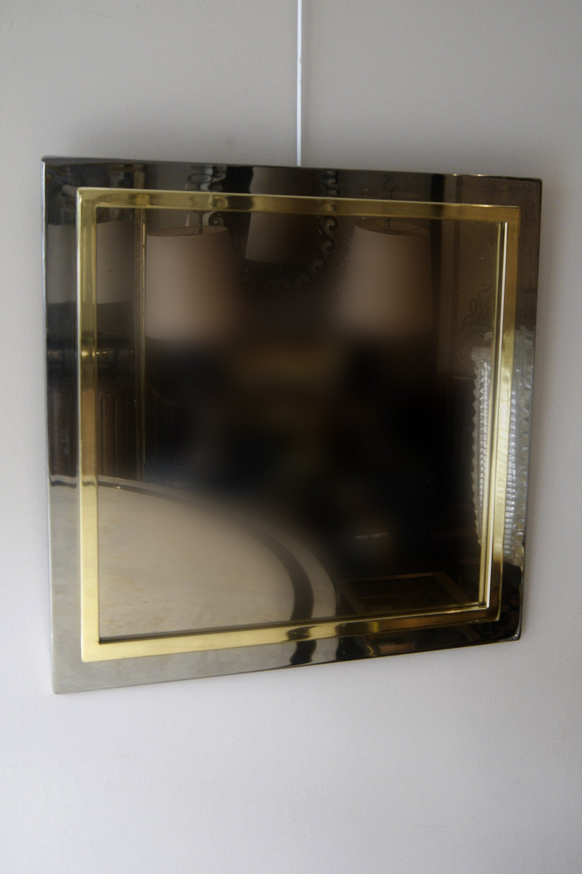 Square 1970s Gold and Steel Mirror