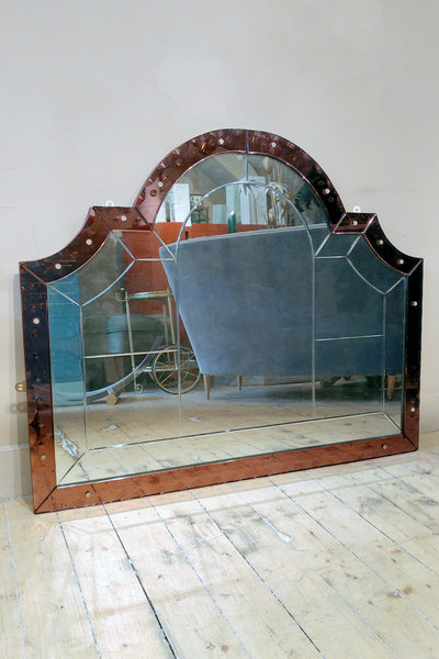 Highly unusual 'Amethyst' Glass  wall mirror circa 1930